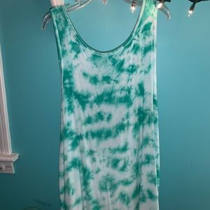 XS green tie dyed tank top
